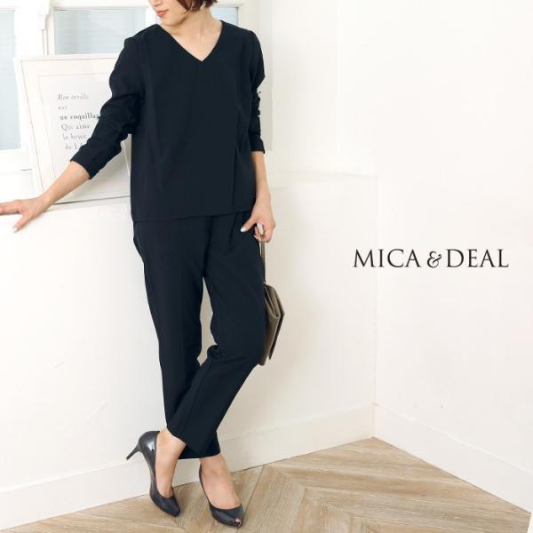 MICA&DEAL〔マイカアンドディール〕D14A0015Vネックバックタックブラウス×パンツセットアップ