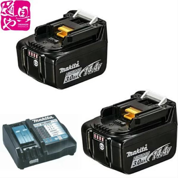 国内正規流通品 鮮度抜群 箱無し makita マキタ 電池バッテリBL1430Bが2ヶと充電器DC18RCが1台のセット品|douguya