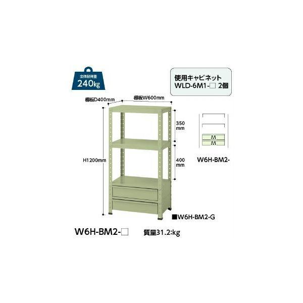 【直送品】 山金工業 ワゴン W6H-BM2-G 【法人向け、個人宅配送不可】 【大型】