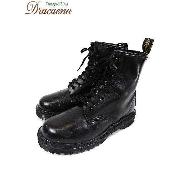 古着 レディースシューズ Dr.Martens ドクターマーチン ENGLAND製 8ホール レザー ブーツ 黒 (24cm位)