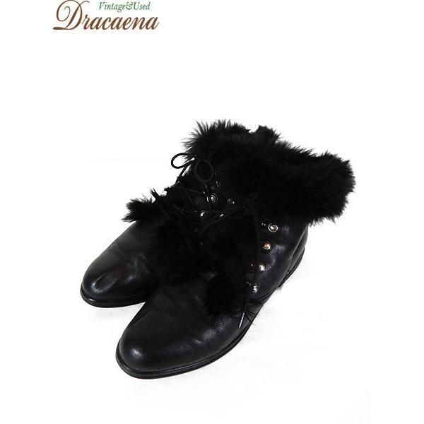 古着 シューズ  ファー付き レースアップ レザー ショート ブーツ 黒 (23.5cm位)  靴 古着