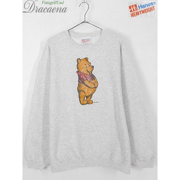 古着 スウェット 90s USA製 Disney Winnie the Pooh くまのプーさん キャラクター スウェット L 古着|dracaena