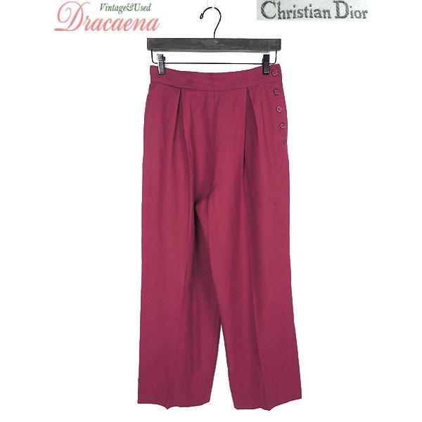 レディース 古着 パンツ Christian Dior クリスチャンディオール ウール ワイドパンツ ボタン 赤 シンプル タック  古着|dracaena