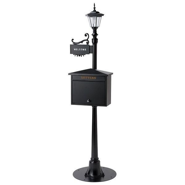 街路灯ポスト(クラシカル) スタンドポスト ガルバリウム 光センサー ソーラーライト クラッシック STREET LIGHT POST 郵便受け 表札 ※キャンセル不可商品です