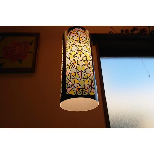 ステンドグラスのイラストプリントランプシェード ペンダントライト1灯用|dragon-child|04