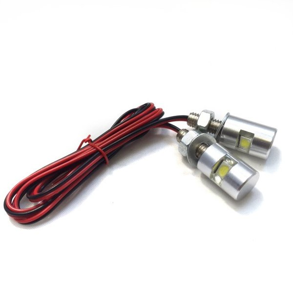 ナンバーボルト 防水 LED内蔵 ナンバー灯 2個セット(シルバー)ナンバープレートボルト【クリックポスト送料無料】|dream-japan