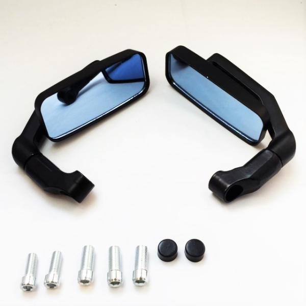 バイク用 バレン スクエアー ミラー ローポジション 角度自在 正ネジ逆ネジ変換ボルト5種(ブラック・カーボン選択可)|dream-japan