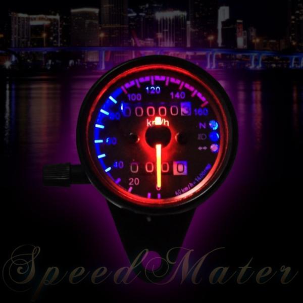 バイク用 スピード メーター カスタム 3連LED  ブラックボディー・ブラックパネル 機械式汎用160km モンキー TW エストレアSR 等|dream-japan|03