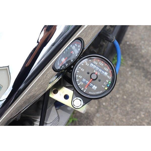 バイク用 スピード メーター カスタム 3連LED  ブラックボディー・ブラックパネル 機械式汎用160km モンキー TW エストレアSR 等|dream-japan|04