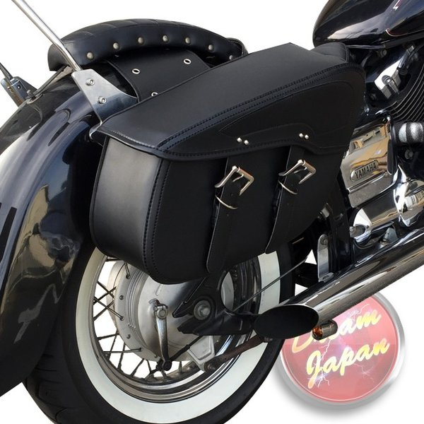 バイク サイドバッグ リアサイド 左右セット ワンタッチタイプ【ブラック】大型/アメリカン/合皮/スティード/ビラーゴ/マグナ/バルカン|dream-japan|06