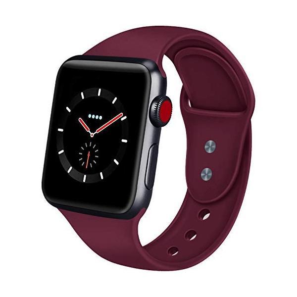 AIGENIU コンパチブル Apple Watch バンド、ダブルボタンシリコン柔らかいアップルウォッチ スポーツ 交換 バンド、|dreamcshop