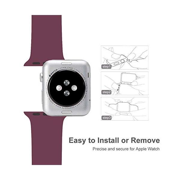 AIGENIU コンパチブル Apple Watch バンド、ダブルボタンシリコン柔らかいアップルウォッチ スポーツ 交換 バンド、|dreamcshop|05