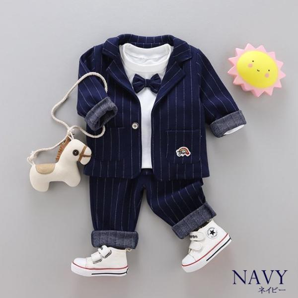 男の子 フォーマル ベビースーツ ストライプ スーツ 子供服 ベビー服 紳士風 フォーマル 赤ちゃん 子供 男の子|dreamkikaku|02
