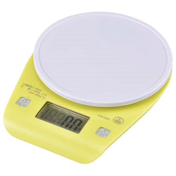 クッキングスケール(2kg計)COK-S203 大きな計量皿 お菓子作り 追加材料 差し引き計量(0表示機能)付 オートオフ オーバーロード表示|dreamrelife-store