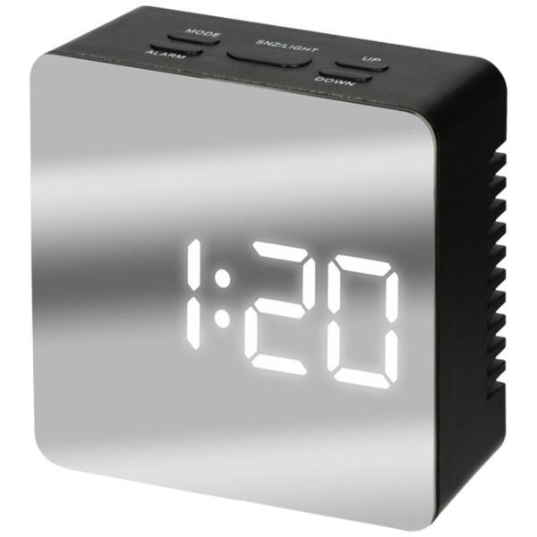ミラークロック(スクエア) 黒 195747 単4形乾電池3本 時計表示、アラーム&スヌーズ、温度、ミラー、明るさ2段設定、省エネ機能付|dreamrelifeshop2