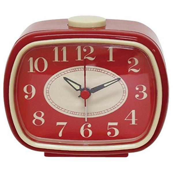 アナログ アラーム クロック レッド 400857802 目覚まし時計 単3形乾電池×1本 静かな連続秒針|dreamrelifeshop2