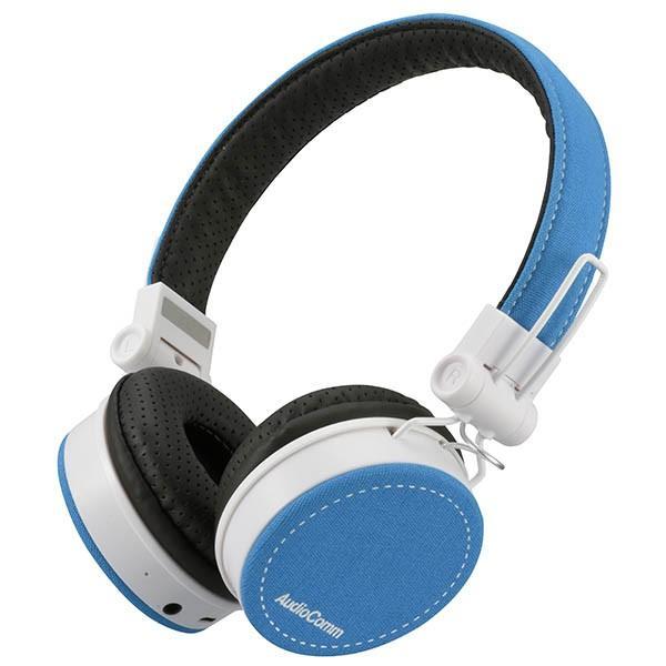Bluetoothステレオヘッドホン(ブルー)HP-WBT200Z-A USB充電式 折りたたみタイプ マイク内蔵ハンズフリー通話 耳元音量調節