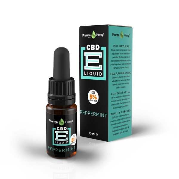 Pharmahemp CBD e-リキッド 5% 500mg 10ml ペパーミント  蒸気吸入器用 e-CBDリキッド |dreamspll