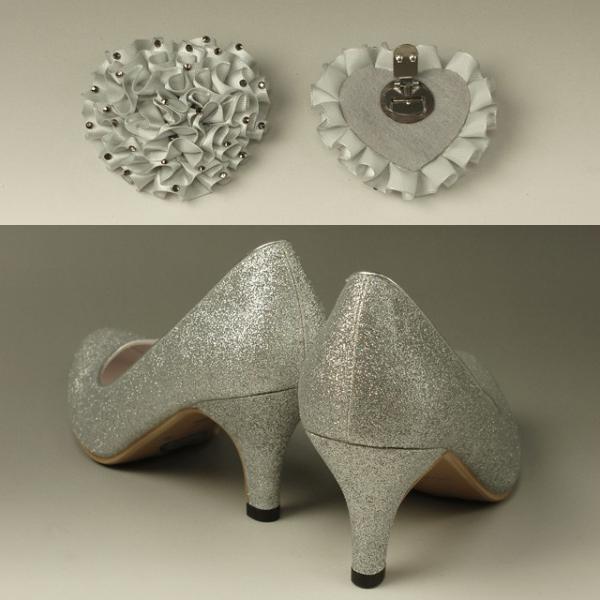 パンプス レディース 婦人靴 ハイヒール 23.5cm 結婚式 パーティー ステージ フォーマル 美脚 ラメ入りシルバー Mサイズ C2897SM
