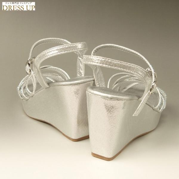 サンダル レディース 厚底サンダル 歩きやすい ステージ靴 ウエッジソール 痛くない パーティーサンダル 美脚 23cm シルバーS(36) E7668SS