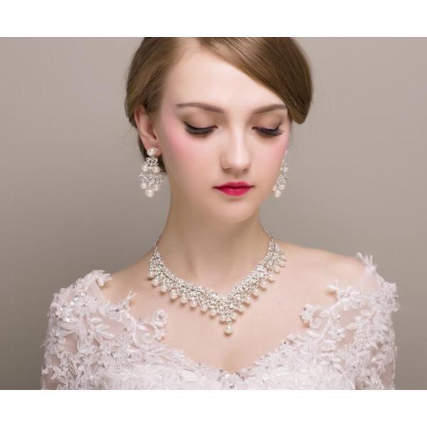 4fd70e0e22fc4 ... ウェディング ブライダル パーティー ウエディング ジュエリー アクセサリー ネックレス 2点 セット 小物 結婚式 花嫁 お呼ばれ 謝恩  ...