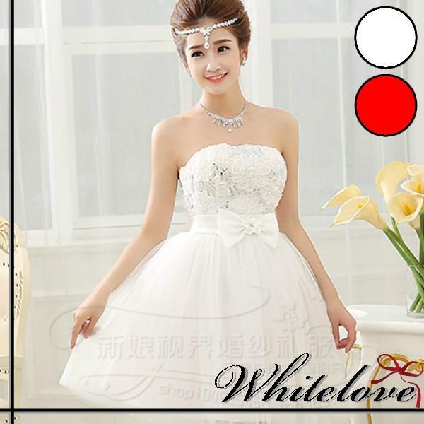 9053a4568bc78 ウエディングドレス 2色 ミニドレス カラードレス ウェディングドレス パーティードレス 結婚式 花嫁 二次会 ...