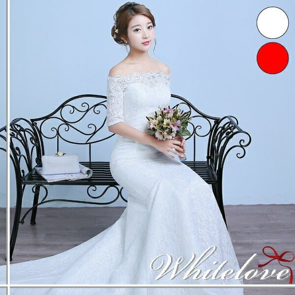 c499bbbab1b22 ウェディングドレス 2色 カラードレス マーメイドライン ウエディングドレス 七分袖 花嫁 二次会 結婚 ...