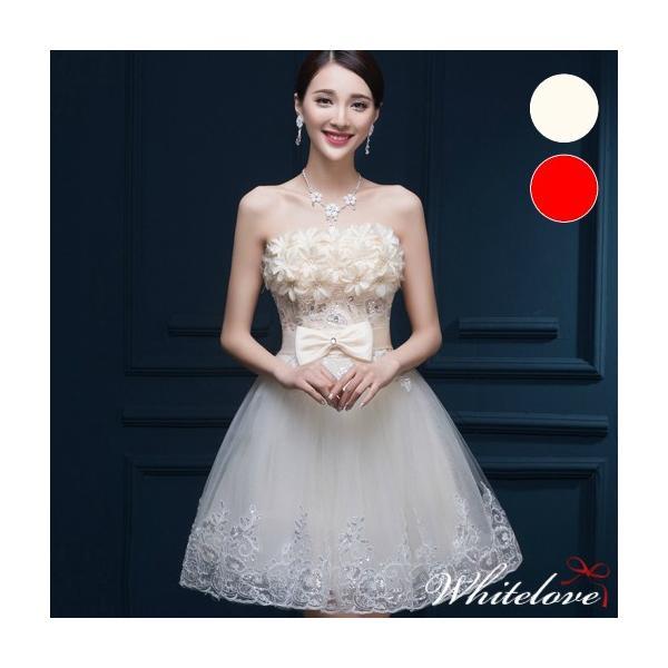 8ac7fad26a80c ウェディングドレス 2色 ミニドレス 花嫁 結婚式 二次会 新婦 カラー ミニ ドレス カラードレス ...