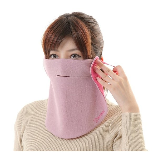 UVカットフェイスマスク 紫外線防止用ドレスマスク お肌に優しいストレスフリー スリット開楽呼吸 光触媒・高機能素材二重仕立 プライムローズ/ピンクフランベ|dressmask-drema