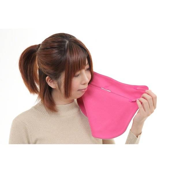 UVカットフェイスマスク 紫外線防止用ドレスマスク お肌に優しいストレスフリー スリット開楽呼吸 光触媒・高機能素材二重仕立 プライムローズ/ピンクフランベ|dressmask-drema|04