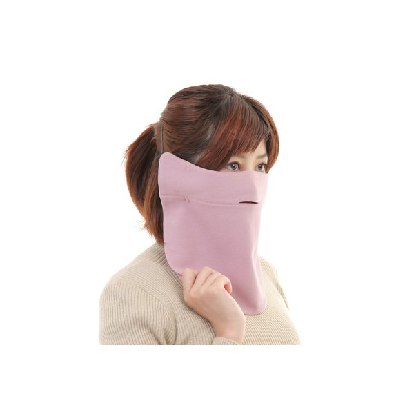 UVカットフェイスマスク 紫外線防止用ドレスマスク お肌に優しいストレスフリー スリット開楽呼吸 光触媒・高機能素材二重仕立 プライムローズ/ピンクフランベ|dressmask-drema|05