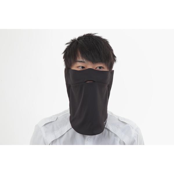 UVカットフェイスマスク 紫外線防止用ドレスマスクレギュラー ズレにくい肌ストレスフリー 楽呼吸 光触媒・高機能性素材を二枚重ね 男性に人気の色ブラック|dressmask-drema|02