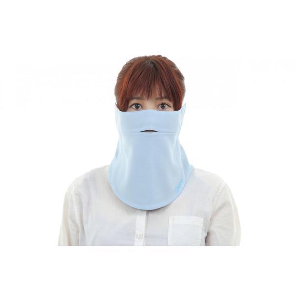 UVカットフェイスマスク 紫外線防止用ドレスマス クサイクリスト お肌に優しいストレスフリー 楽呼吸 光触媒・高機能素材を二枚重ね スカイブルー/ネイビー|dressmask-drema|02