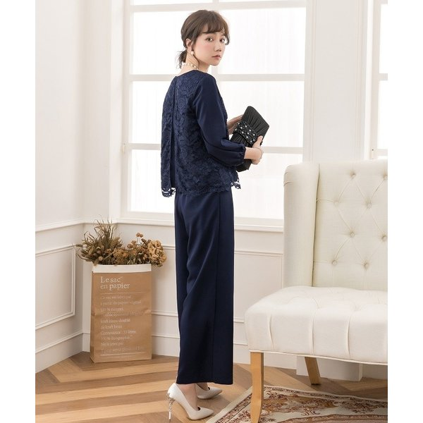 卒業式 卒園式 パンツドレス 結婚式 袖あり 大きいサイズ レース レディース ワイド パーティー ドレス セットアップ|dressstar|11