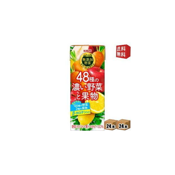 送料無料 キリン 無添加野菜 48種の濃い野菜と果物 200ml紙パック 48本(24本×2ケース) (野菜ジュース)