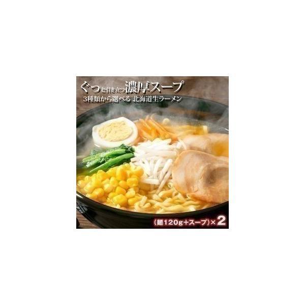 3種類から選べる 北海道生ラーメン 2食(麺120g+スープ)×2セットメール便【4〜5営業日以内に出荷】 送料無料