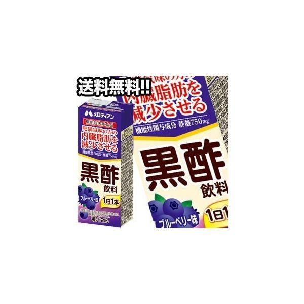 【10月1日出荷開始】メロディアン 黒酢飲料 ブルーベリー味 200ml紙パック×72本 24本×3箱 機能性表示食品 賞味期限:2ヶ月以上  送料無料