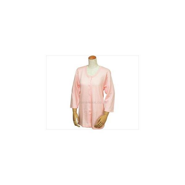 (U0242)婦人用キルト八分袖前開きシャツ(ワンタッチテープ式)/W461ピーチM(cm-234675)[1枚]