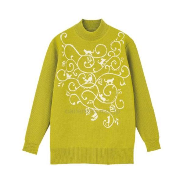 動物柄セーター(猫×葉) / 97166-21 カラシ M〜L(cm-414773)[1枚]