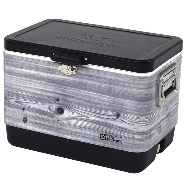 TENT FACTORY(テントファクトリー) メタルクーラーボックス スチールウッドボックス L TF-MBW51(BKW) ブラックウッド 51L|dstyleshop