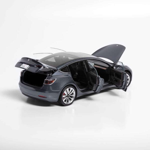 TESLA Diecast 1:18 Scale Model 3 テスラ純正品 ダイキャスト 1/18 モデル3 ミッドナイトシルバーメタリック モデルカー ミニカー|ducatism|07
