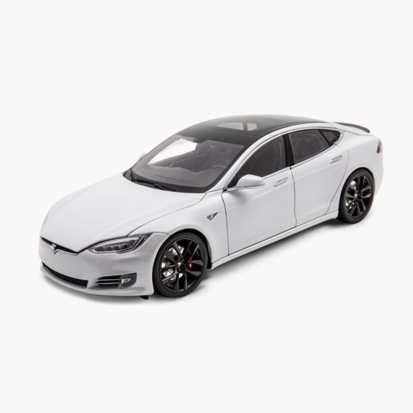TESLA Diecast 1:18 Scale Model S P100D テスラ純正品 ダイキャスト 1/18 モデルS パールホワイトモデルカー ミニカー|ducatism
