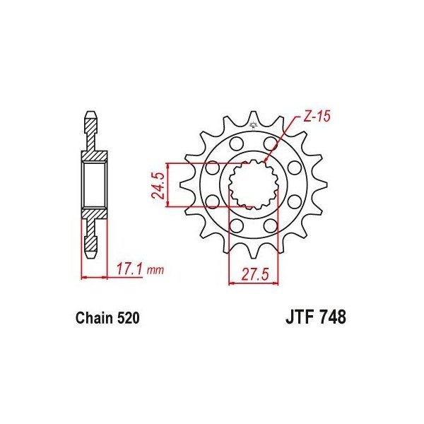 JTスプロケット JTF748 フロントスプロケット 520 DUCATI Panigale V4/1299/1199の520化用に.. JT Sprockets 14 15|ducatism|02