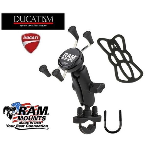 RAM-B-149Z-UN7U ラムマウント Xグリップ U字クランプ スマホ用 ゴムバンド テザー付 RAM MOUNTS バイク/自転車 iPhone7/8/X対応|ducatism