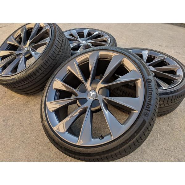 テスラ モデルS  純正 21インチ Newツインタービン ホイール グレー4本set TwinTurbine Wheel 8.5Jx21/9Jx21 1台分set Tesla ModelS ducatism
