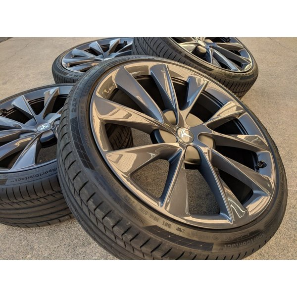 テスラ モデルS  純正 21インチ Newツインタービン ホイール グレー4本set TwinTurbine Wheel 8.5Jx21/9Jx21 1台分set Tesla ModelS ducatism 05