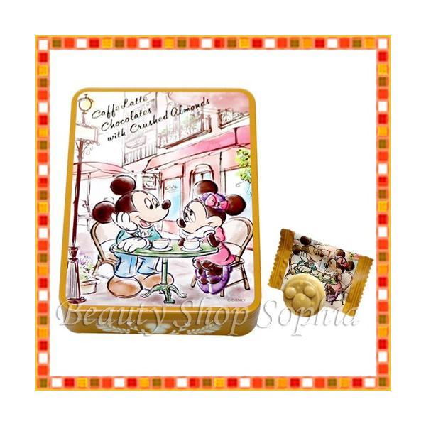 ミッキー&ミニー 缶入りカフェラテチョコレート(アーモンド入り)  お菓子 ディズニー グッズ お土産 (東京ディズニーリゾート限定)