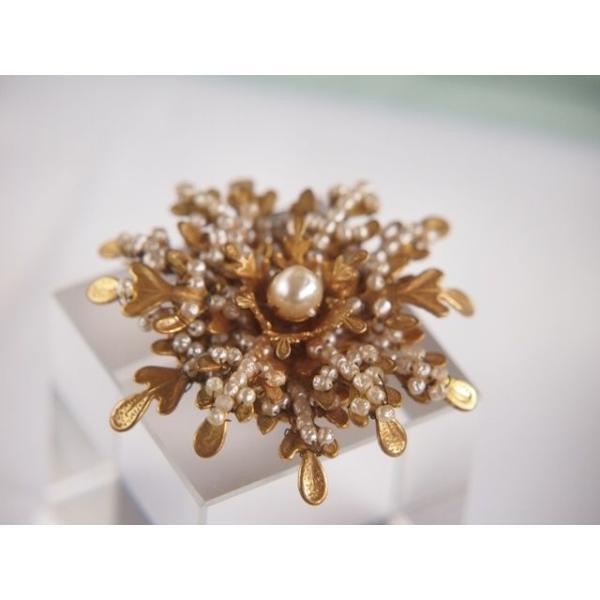 ★ミリアムハスケル 人気!雪の結晶のような美しいデザイン!シードパール/真珠のブローチ■アンティーク/コスチュームジュエリー