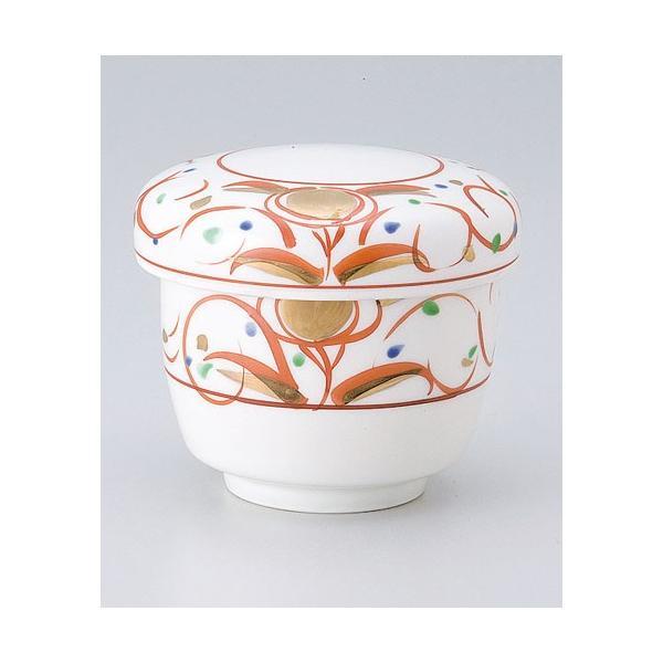 茶碗蒸し 陶器/ 赤絵華紋むし碗 /蒸し碗 ちゃわんむし碗 業務用|duralex