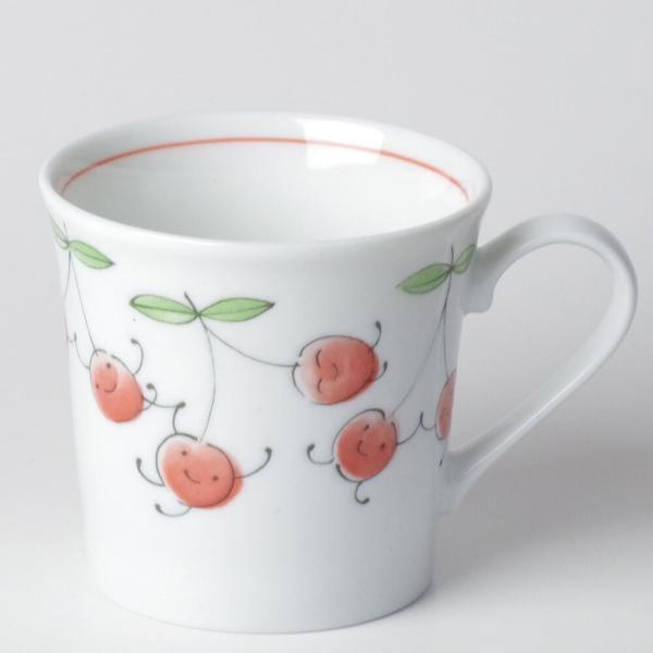 軽い マグカップ 薄手/ 軽量笑顔さくらんぼマグ /可愛い 家庭用 贈り物 プレゼント ポイント消化